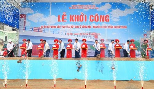 Khởi công xây dựng cầu vượt tại nút giao Ô Đông Mác - Nguyễn Khoái