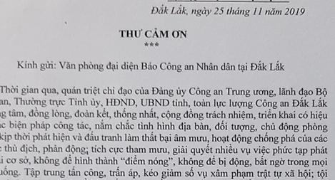 CA Đắk Lắk gửi thư cám ơn Báo CAND
