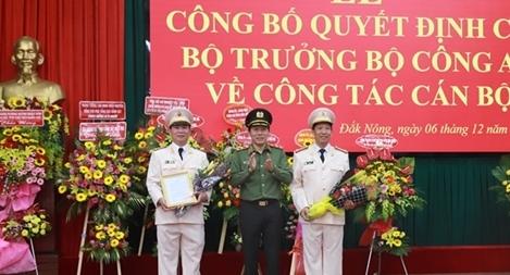 Công bố quyết định điều động và bổ nhiệm Giám đốc Công an 2 tỉnh Đắk Lắk và Đắk Nông