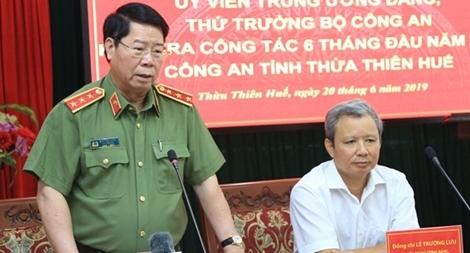 Thứ trưởng Bùi Văn Nam kiểm tra công tác tại Công an tỉnh Thừa Thiên - Huế