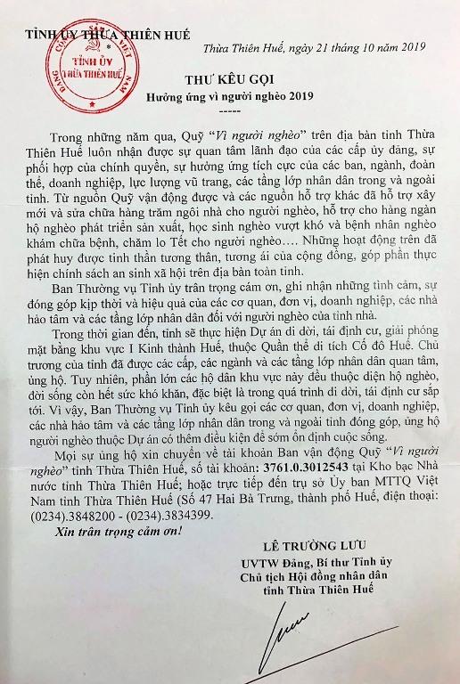 """Bí thư tỉnh Thừa Thiên Huế kêu gọi ủng hộ người nghèo trong dự án """"di dân lịch sử"""""""