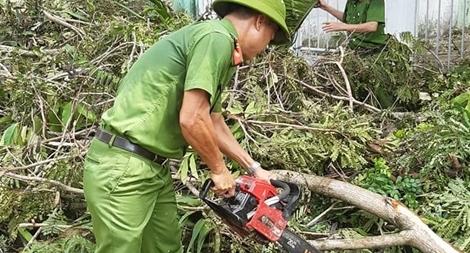 Công an các phường ở TP Huế nỗ lực dọn cây xanh gãy đổ sau bão