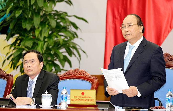 Thủ tướng Nguyễn Xuân Phúc phát biểu tại buổi làm việc. Ảnh: VGP/Quang Hiếu