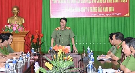 Thứ trưởng Bùi Văn Nam làm việc với Công an tỉnh Bình Thuận