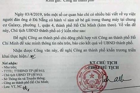 Văn bản của UBND TP chỉ đạo Công an Đà Nẵng xác minh thông tin vụ dâm ô trẻ em.