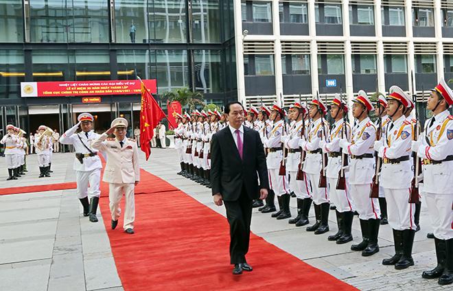 Chủ tịch nước Trần Đại Quang dự Lễ mít tinh kỷ niệm 35 năm Ngày truyền thống Tổng cục Chính trị CAND