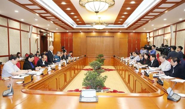 Tổng Bí thư, Chủ tịch nước Nguyễn Phú Trọng phát biểu kết luận cuộc họp. (Ảnh: Trí Dũng/TTXVN)