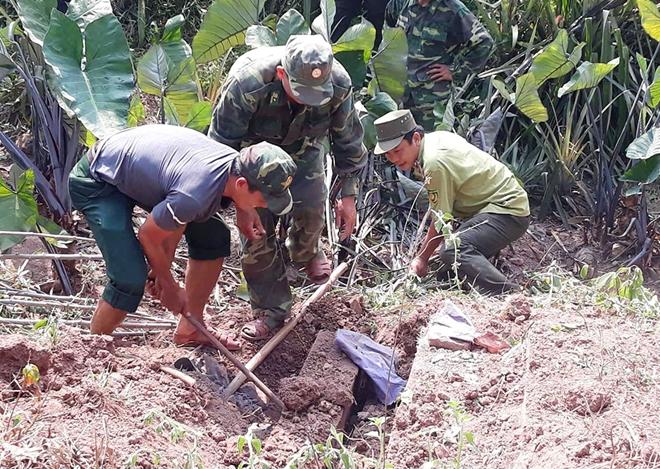 Số lượng lớn gỗ lậu được chôn dấu tinh vi ở vườn nhà ông Nguyễn Trung Kính.