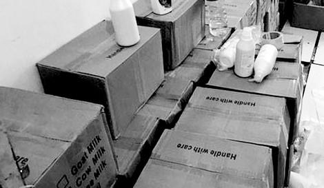 Lô hàng lậu mỹ phẩm bị cơ quan chức năng tịch thu.