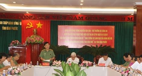 Đoàn kiểm tra việc thực hiện Chỉ thị số 09 của Ban Bí thư làm việc với Tỉnh ủy Bình Phước