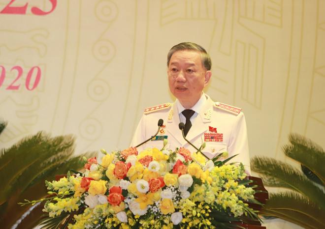 Đại tướng Tô Lâm phát biểu khai mạc đại hội.