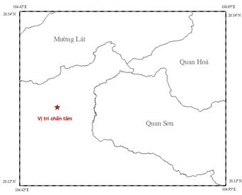Động đất 3,9 độ richter tại biên giới VIệt - Lào