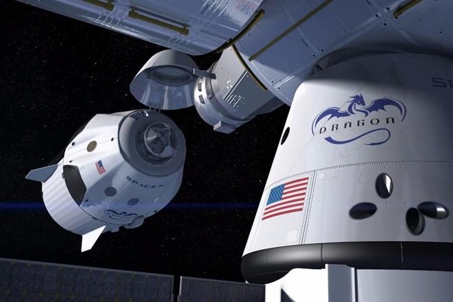 Mẫu concept tàu vũ trụ SpaceX Crew Dragon kết nối với Trạm Vũ trụ Quốc tế ISS. Ảnh: SpaceX.