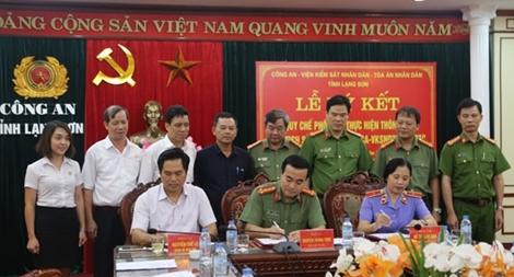 Lạng Sơn ký kết qui chế phối hợp giữa Công an, Viện Kiểm sát và Tòa án
