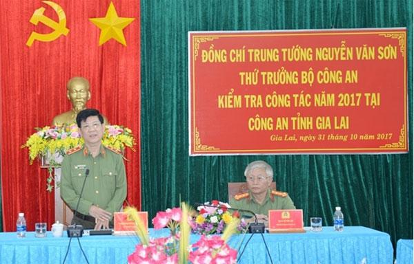 Thứ trưởng Nguyễn Văn Sơn kiểm tra công tác tại Công an tỉnh Gia Lai