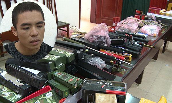 Phạm Văn Thành cùng tang vật vụ án.