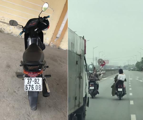 Một trong 3 chiếc xe xuất hiện trong video trên Facebook và ảnh xe mô tô dàn hàng ngang (cắt từ clip trên Facebook).