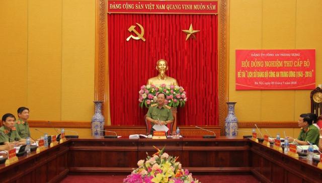 """Nghiệm thu cấp Bộ Đề tài """"Lịch sử Đảng bộ Công an Trung ương (1945 – 2015)"""
