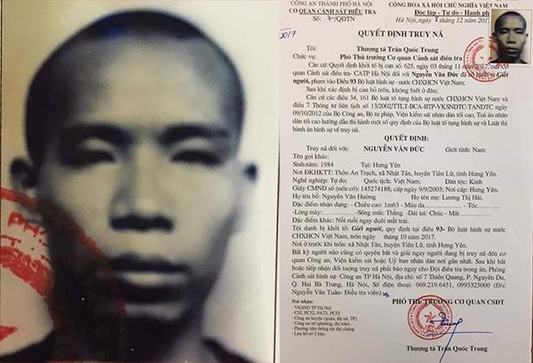 Lệnh tru.y nã Nguyễn Văn Đức của Công an TP Hà Nội.