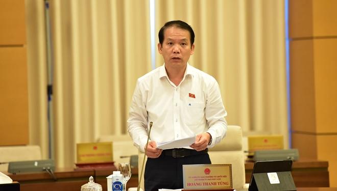 Chủ nhiệm Ủy ban Pháp luật Hoàng Thanh Tùng trình bày Báo cáo thẩm tra sơ bộ Báo cáo của Chính phủ về công tác giải quyết khiếu nại, tố cáo năm 2020.