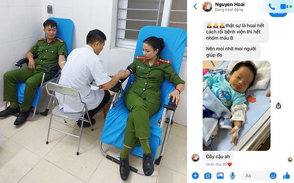 2 cán bộ Công an kịp thời hiến máu cứu chữa cháu bé sơ sinh bị bệnh nặng