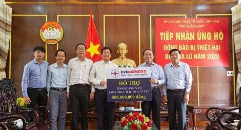 EVN Genco 2 trao 1 tỷ đồng hỗ trợ tỉnh Quảng Nam và Quảng Trị khắc phục hậu quả mưa lũ