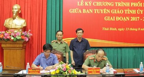 Công an Thái Bình và Ban Tuyên giáo Tỉnh ủy ký kết chương trình phối hợp công tác