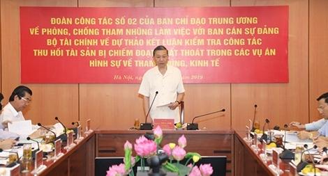 Đoàn công tác số 02 của Ban Chỉ đạo Trung ương về phòng, chống tham nhũng làm việc với Ban Cán sự Đảng Bộ Tài chính