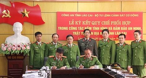Ký kết Quy chế phối hợp giữa CA tỉnh Lào Cai với Bộ Tư lệnh CSCĐ