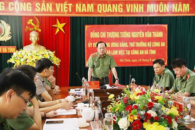 Thứ trưởng Nguyễn Văn Thành làm việc tại Công an tỉnh Hà Tĩnh