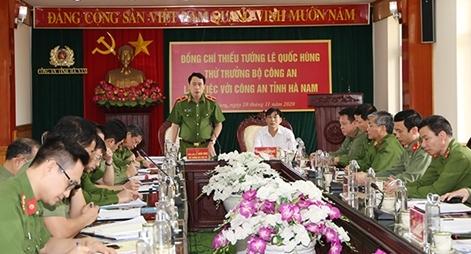 Thứ trưởng Lê Quốc Hùng làm việc với Công an tỉnh Hà Nam