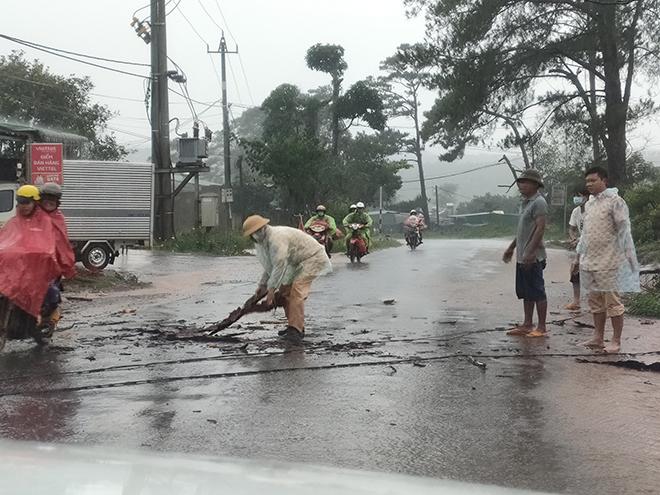 CSGT dầm mưa cùng người dân dọn cây gỗ lớn đổ ngang đường - Ảnh minh hoạ 3
