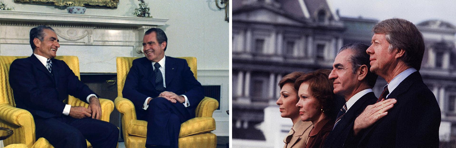Mỹ sử dụng Iran và Shah Pahlavi làm tiền đồn chống sự ảnh hưởng của Liên Xô ở Trung Đông. Trong ảnh là các Tổng thống Mỹ Richard Nixon và Jimmy Carter trong những lần gặp gỡ Quốc vương Shah Pahlavi.