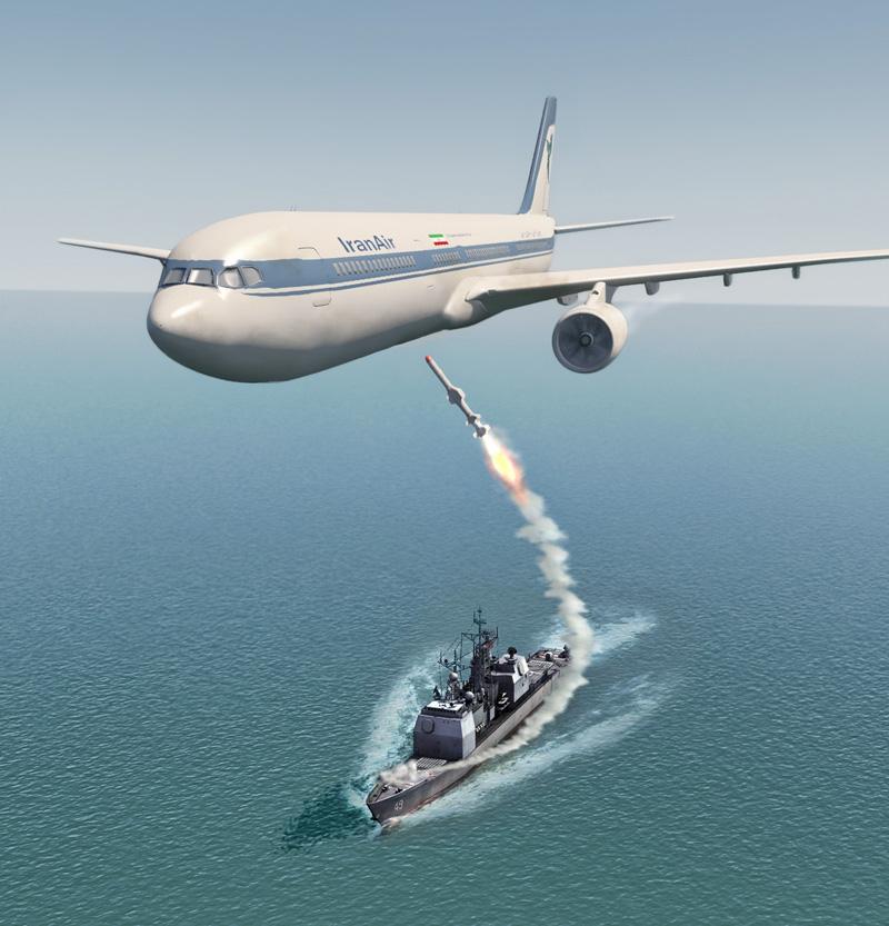 Chiếc A-300 rơi xuống biển, toàn bộ 290 hành khách và phi hành đoàn thiệt mạng bởi tên lửa đối không SM-2MR.