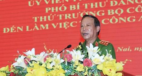 Thứ trưởng Lê Quý Vương làm việc tại Công an tỉnh Đồng Nai