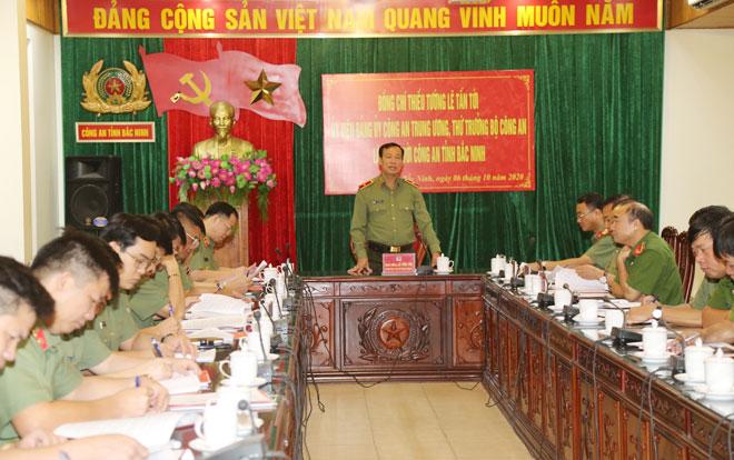 Thứ trưởng Lê Tấn Tới làm việc tại Công an tỉnh Bắc Ninh