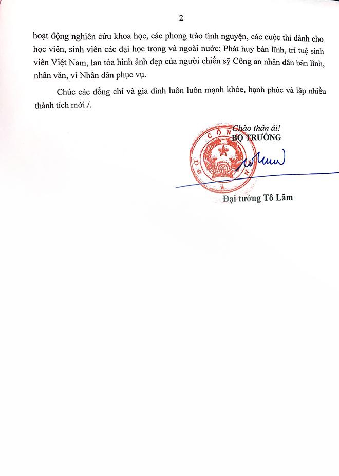 Bộ trưởng Tô Lâm gửi thư khen Đội tuyển Học viện CSND đạt giải quán quân SV 2020 - Ảnh minh hoạ 2