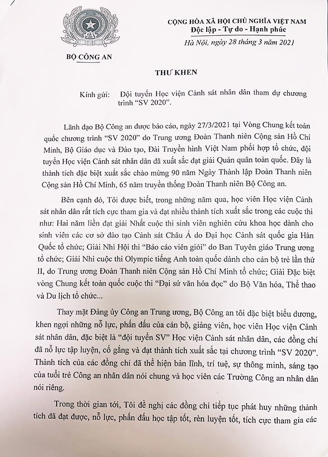 Bộ trưởng Tô Lâm gửi thư khen Đội tuyển Học viện CSND đạt giải quán quân SV 2020