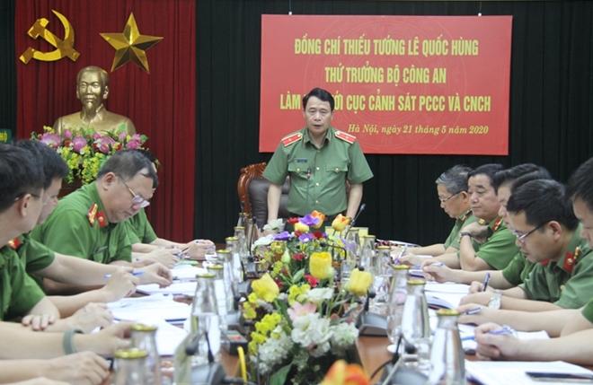 Thứ trưởng Lê Quốc Hùng làm việc với Cục Cảnh sát PCCC&CNCH