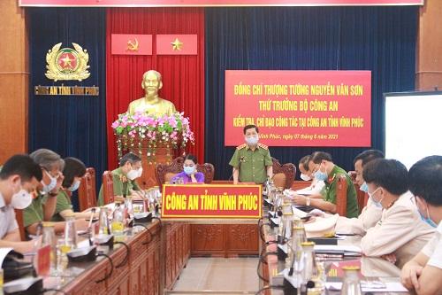Thứ trưởng Nguyễn Văn Sơn kiểm tra, chỉ đạo công tác tại Công an tỉnh Vĩnh Phúc