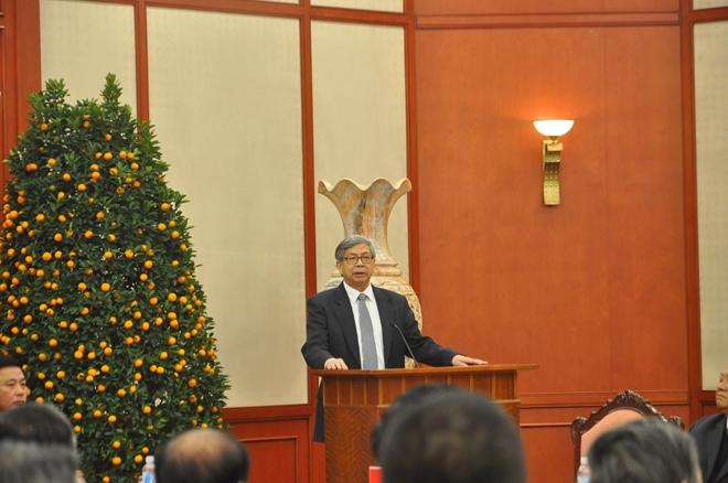 Giáo sư Đặng Vũ Minh, Chủ tịch Liên hiệp các Hội Khoa học và Kỹ thuật Việt Nam phát biểu tại buổi gặp mặt