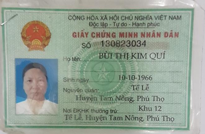 Giấy chứng minh nhân dân của đối tượng Bùi Thị Kim Quí.