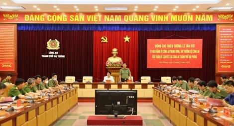 Thứ trưởng Lê Tấn Tới làm việc với Công an TP Hải Phòng