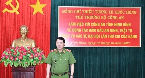 Thứ trưởng Lê Quốc Hùng làm việc tại Công an tỉnh Ninh Bình