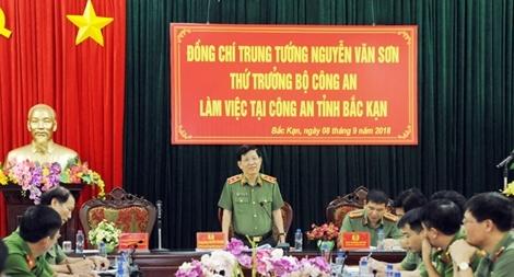 Thứ trưởng Nguyễn Văn Sơn làm việc tại Công an tỉnh Bắc Kạn