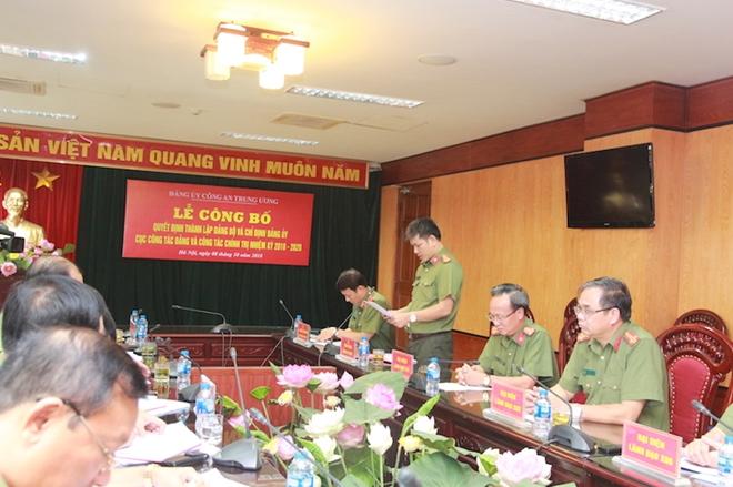 Công bố Quyết định thành lập Đảng bộ Cục Công tác Đảng và công tác chính trị