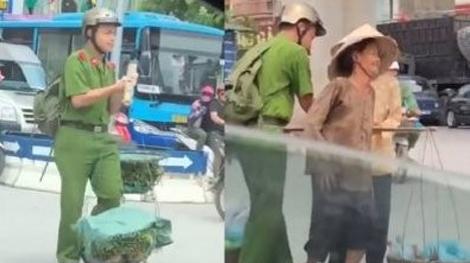 Nam sinh Cảnh sát giữa trưa nắng giúp 2 bà cụ gánh rau qua đường1