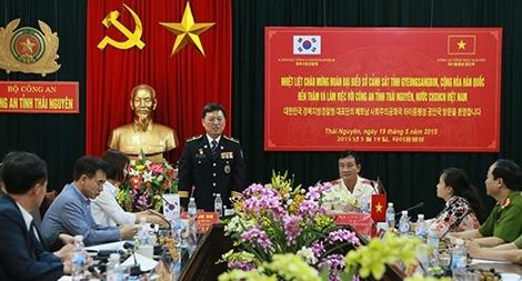 Đoàn Cảnh sát tỉnh Gyeongsangbuk (Hàn Quốc) thăm, làm việc tại Thái Nguyên