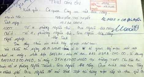 Nữ sinh gửi thư cảm ơn Công an tỉnh Đắk Nông