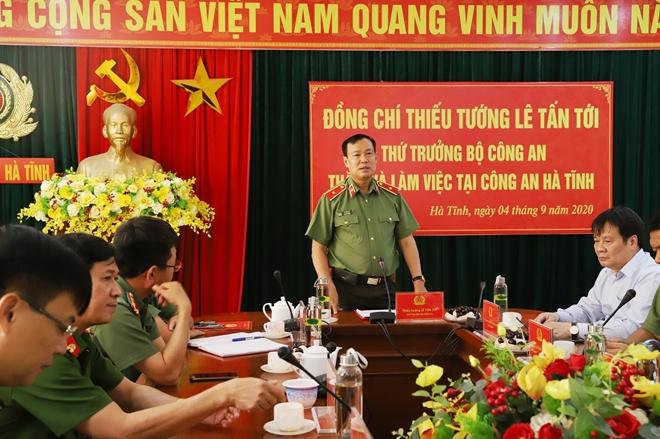 Thứ trưởng Lê Tấn Tới làm việc tại Công an tỉnh Hà Tĩnh